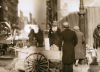 Pushcart vendors on the Lower East Side, 1933. From the Center for Jewish History archives.