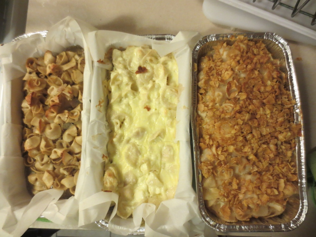 After Picture: Pineapple Kugel, Lokshen Kugel with Cheese, Lokshen Kugel (from left to right)