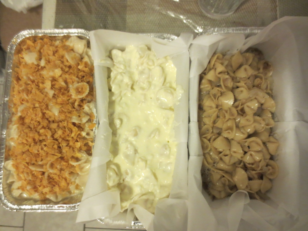 Before Picture: Pineapple Kugel, Lokshen Kugel with Cheese, Lokshen Kugel (from left to right)