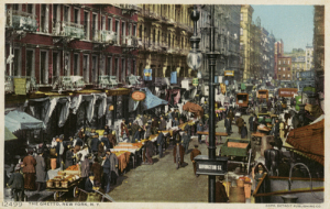 Pushcarts lining Rivington Street - Postcard from the Blavatnik Archive