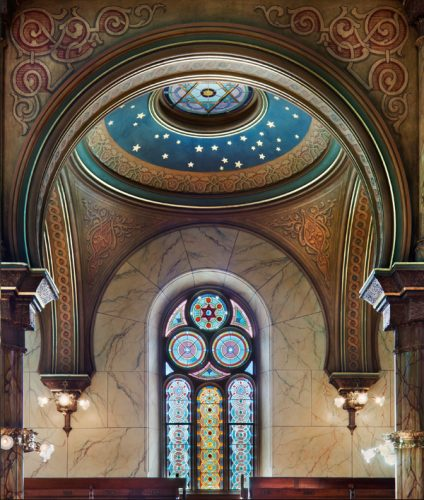 Moorish window and dome detail found in The Eldridge Street Synagogue sanctuary
