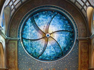 Museum at Eldridge Street / Eldridge Street Synagogue. Stained glass window by Kiki Smith and Deborah Gans. Synagogue Restoration.