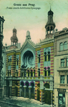 "Jubilee Synagogue in Prague features Moorish architecture. From ""Lost Synagogues of Europe: Postcards from the Collection of Frantisek Banyai"""