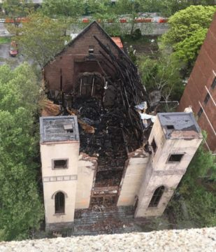 Aerial view of Beth Hamedrash Hagadol following the May 14 fire - Courtesy of the Lodown