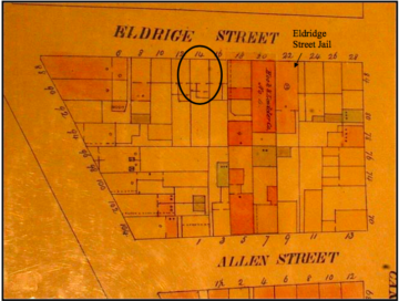 1857 Insurance Map of Eldridge Street, William Perris 1857-62 Volume1 Plate 13. Maps of the city of New York Third Edition. Courtesy of the New York Public Library, Map Division Digital Collection.